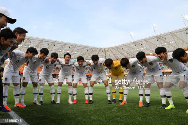 The Korea Republic players form a team huddle prior to the 2019 FIFA U20 World Cup group F match between Portugal and Korea Republic at BielskoBiala...