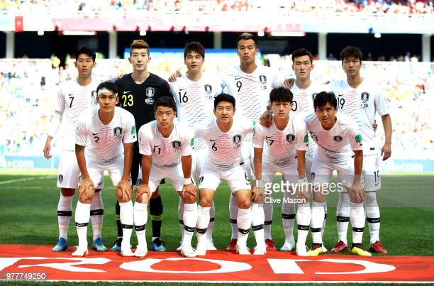 The Korea Republic team pose for a team photo prior to the 2018 FIFA World Cup Russia group F match between Sweden and Korea Republic at Nizhniy...