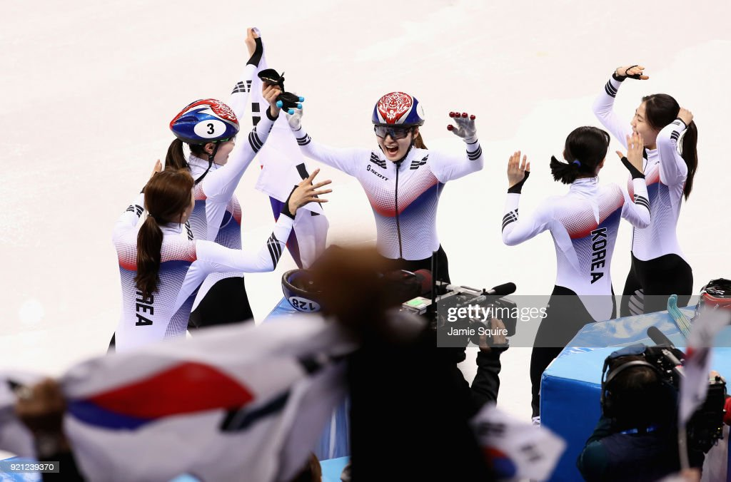 The Korea team celebrate winning the gold medal following the Ladies Short Track Speed Skating 3000m Relay Final A on day eleven of the PyeongChang 2018 Winter Olympic Games at Gangneung Ice Arena on February 20, 2018 in Gangneung, South Korea.
