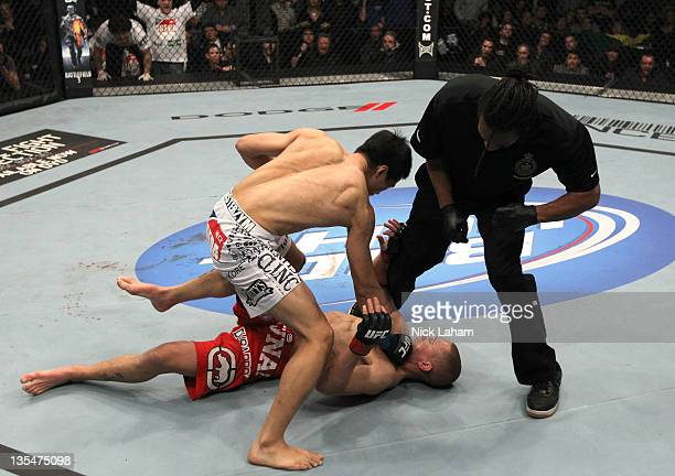 The Korean Zombie Chan Sung Jung defeats Mark Hominick by knockout during the UFC 140 event at Air Canada Centre on December 10 2011 in Toronto...