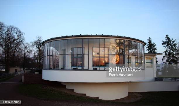 The Kornhaus a former restaurant designed in 1929 by Bauhaus architect Carl Fieger stands on February 23 2019 in Dessau Germany Germany is...