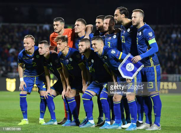 The Kosovo team pose for a photo prior to the UEFA Euro 2020 Qualifier between Kosovo and England at the Pristina City Stadium on November 17 2019 in...