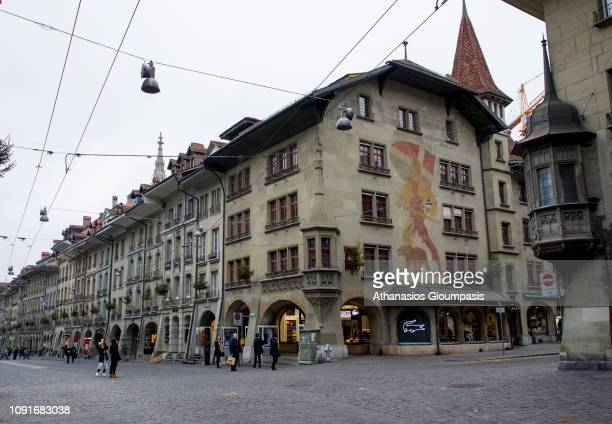 The Kramgasse on January 01 2019 in Bern Switzerland The Kramgasse is the principal streets in the Old City of Bern It was the center of urban life...