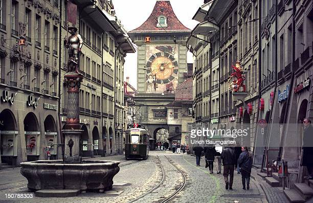 The Kramgasse with fountain and the Zytglogge Tower in the Swiss capital Bern
