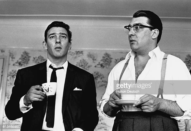 The Kray twins at home after having been questioned by police about the murder of George Cornell