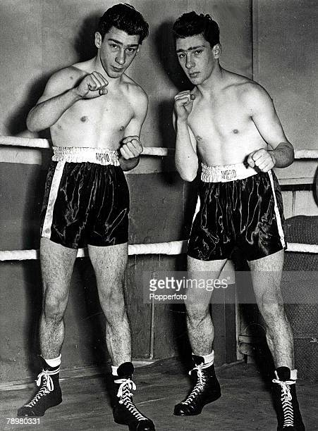 The Kray twins pictured on 23rd January 1953 when as teenagers they would report to a local gymnassium in the East End of London for boxing training...