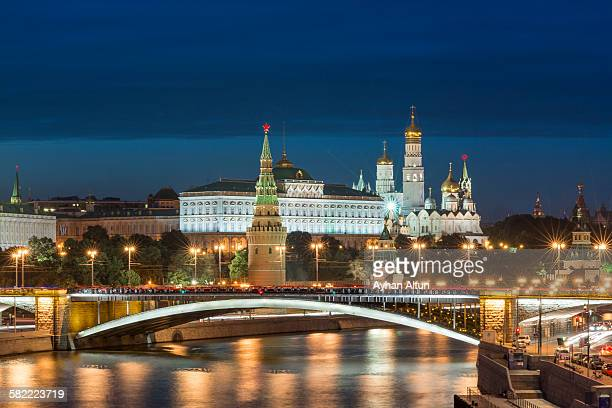 The Kremlin at blue hour in Moscow