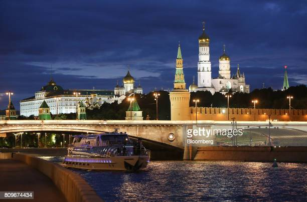 The Kremlin right stands illuminated on the banks of the Moscow river in Moscow Russia on Wednesday July 5 2017 US officials including Brett McGurk...
