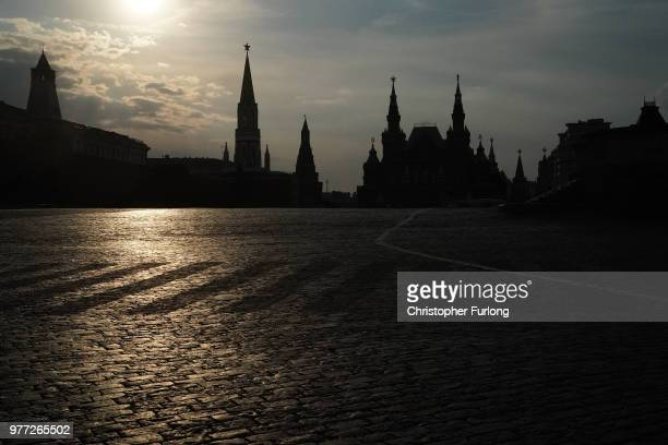 The Kremlin's Red Square is seen empty as it is closed off to World Cup fans due to preparations and the construction of staging on June 17 2018 in...