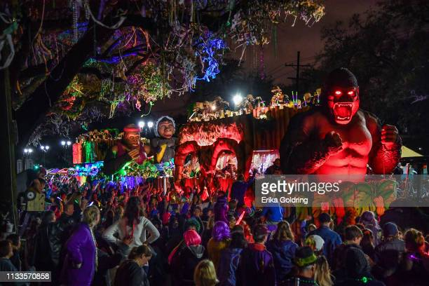 The Krewe of Bacchus parade takes place on the traditional Uptown parade route with the theme Starring Louisiana reflecting movies and television...
