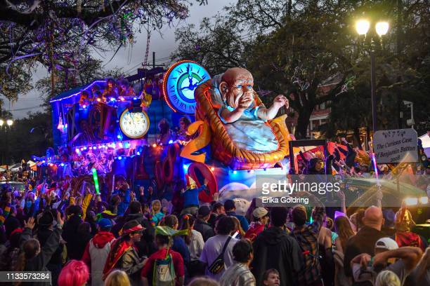 """The Krewe of Bacchus parade takes place on the traditional Uptown parade route with the theme """"Starring Louisiana,"""" reflecting movies and television..."""