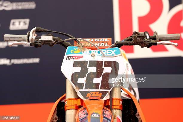 The KTM motorbike number 222 of Antonio Cairoli before the race Fiat Professional MXGP of Lombardia at Ottobiano Motorsport circuit on June 17 2018...
