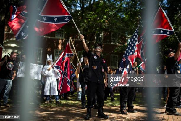 The Ku Klux Klan protests on July 8 2017 in Charlottesville Virginia The KKK is protesting the planned removal of a statue of General Robert E Lee...