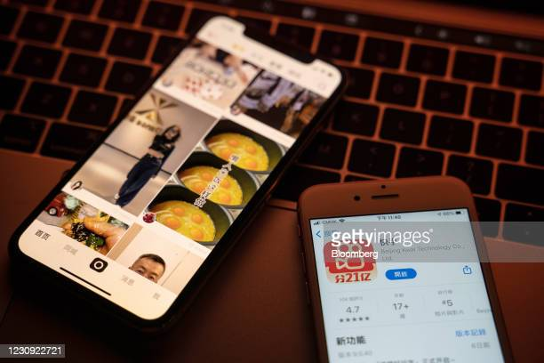 The Kuaishou Technology app and the app's download page on smartphones arranged in Hong Kong, China, on Monday, Feb. 1, 2021. Institutional investors...