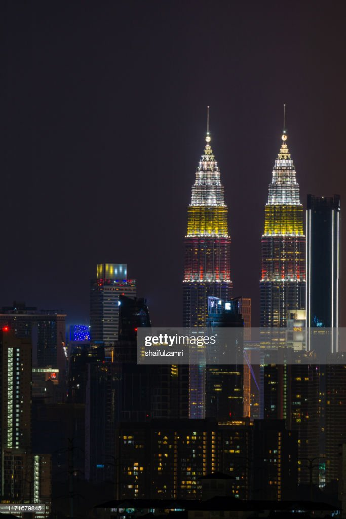 The Kuala Lumpur skyline glittered with a kaleidoscope of colours and spectacular lights and sound to mark the nation's 62 years of independence of Malaysia. : Stock Photo