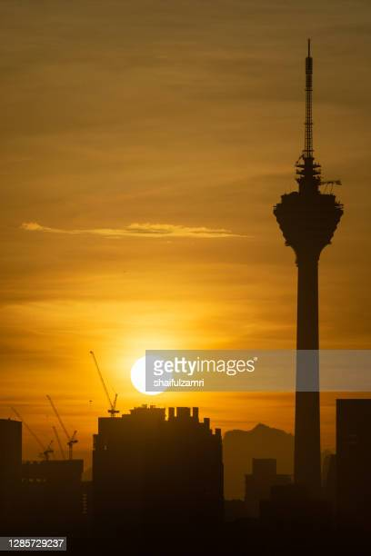 the kuala lumpur tower is a communications tower located in kuala lumpur, malaysia. - shaifulzamri stock pictures, royalty-free photos & images