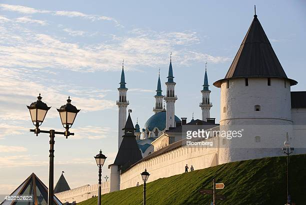 The Kul Sharif mosque stands behind historical defensive walls in Kazan Russia on Friday July 24 2015 Russia's central bank halted purchases of...