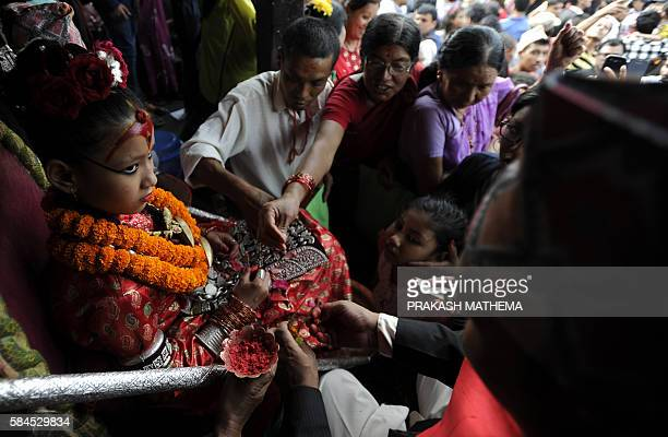 The Kumari considered a living goddess attends festivities on the last day of the Rato Machindranath chariot festival also known as Bhoto Jatra in...