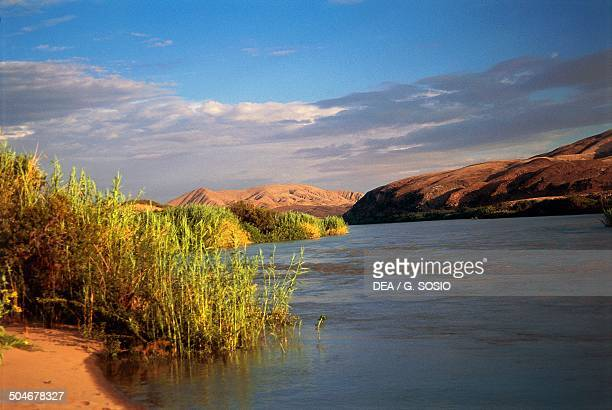 The Kunene River on the border with Angola Kunene Region Namibia