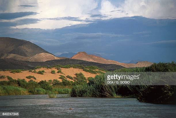 The Kunene River on the border with Angola Kunene Region Namibia