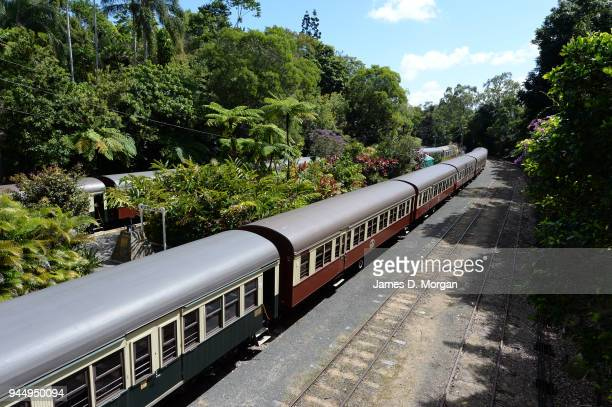 The Kuranda Scenic Railway on August 09, 2013 in Cairns, Queensland, Australia. One of the world's most stunning train rides; riding the Kuranda...