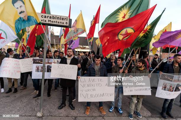 The Kurdish community protests near the Russian Embassy to denounce Russia's complicity with Turkey in the bombardments of Turkey's military against...
