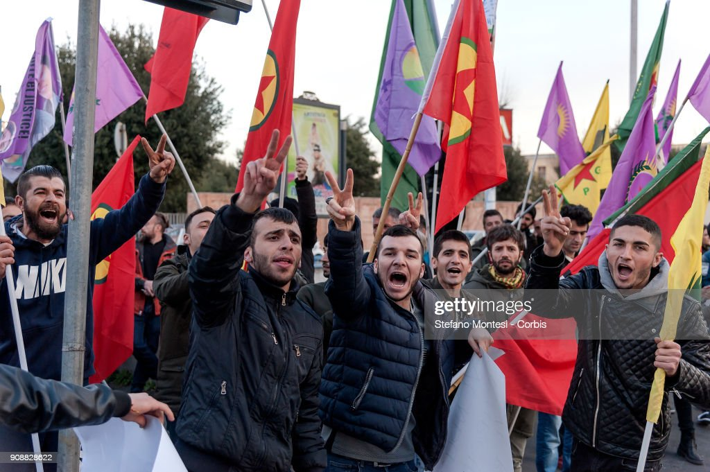 Kurdish Community Protests Against Turkish Bombardment Of Kurdish-Held Enclave In Syria