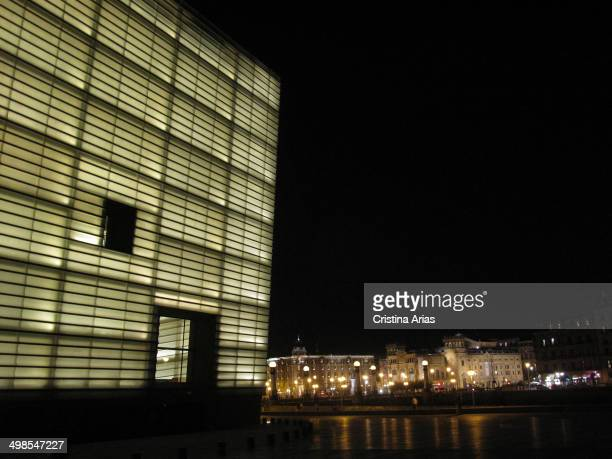 The Kursaal at night, the conference center and auditorium designed by the architect Rafael Moneo in 1999, San Sebastian , Guipuzcoa, Basque Country,...