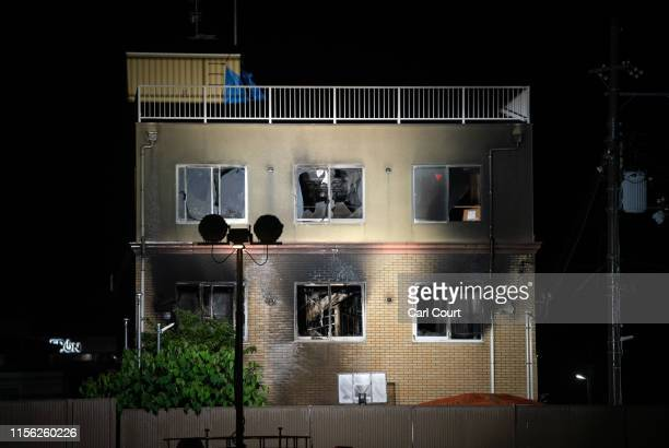The Kyoto Animation Co studio building is pictured after being set ablaze by an arsonist on July 18 2019 in Kyoto Japan Thirty three people are...