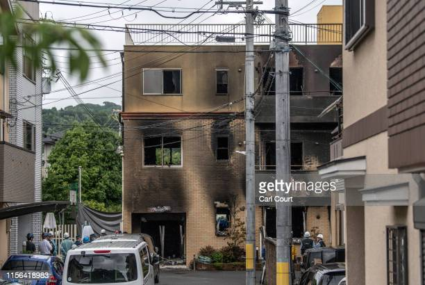 The Kyoto Animation Co studio building is pictured after being set ablaze by an arsonist on July 19 2019 in Kyoto Japan Thirty three people are...