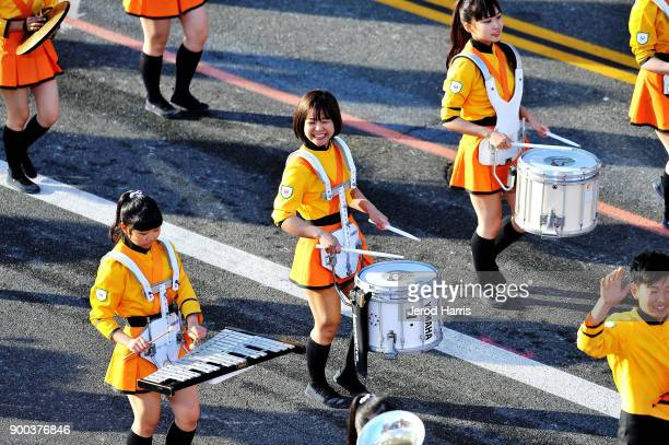 The Kyoto Tachibana Senior High School marching band from Kyoto Japan participates in the 2018 Tournament Of Roses Parade Presented By Honda on...