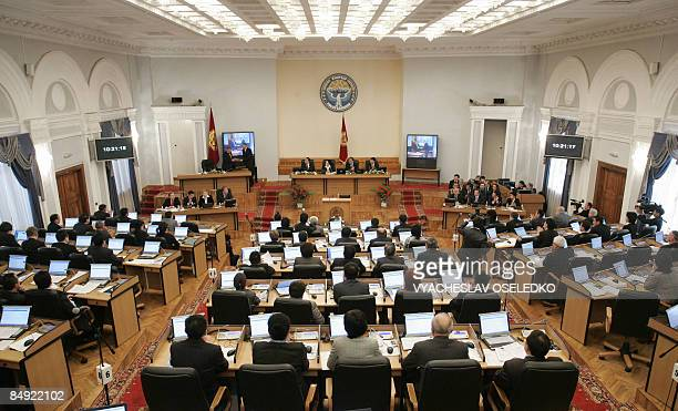 The Kyrgyz parliament meets to vote on the fate of the US aribase in Manas, in Bishkek on February 19, 2009. The Kyrgyz parliament voted...