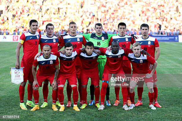 The Kyrgyzstan team pose for a team picture ahead of the 2018 FIFA World Cup Qualifier match between Kyrgyzstan and the Australian Socceroos at Dolen...