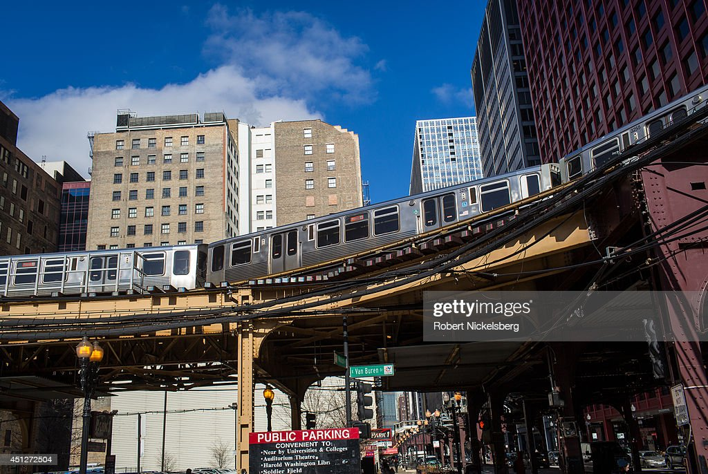 The 'L' train goes by Van Buren Street January 15, 2014 in downtown Chicago, Illinois.