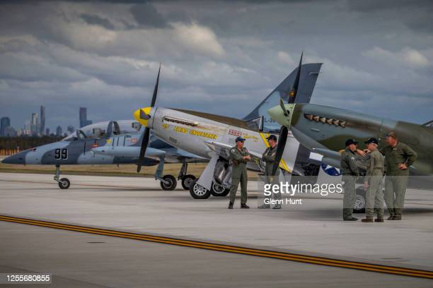 The L39 Albatros P51D Mustang and a Mark 16 Spitfire are seen on Brisbane's new Runway at an event to celebrate the runway's opening on July 12 2020...