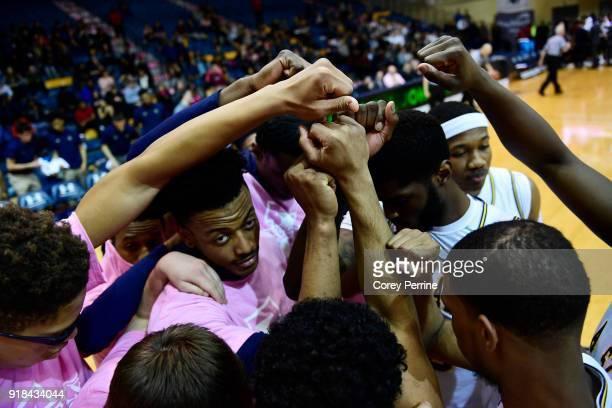 the La Salle Explorers huddle before the game against the St Bonaventure Bonnies at Tom Gola Arena on February 13 2018 in Philadelphia Pennsylvania...