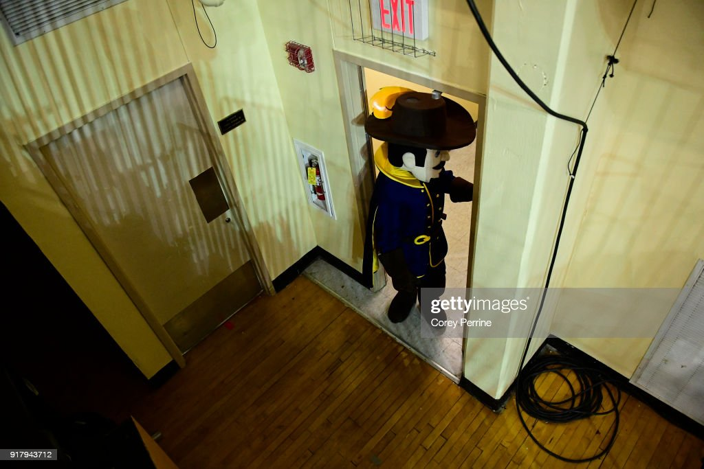 The La Salle Explorers mascot 'The Explorer' enters the arena as they host the St. Bonaventure Bonniesbefore the game at Tom Gola Arena on February 13, 2018 in Philadelphia, Pennsylvania.