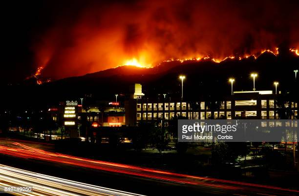 The La Tuna wildfire rages in the Verdugo Mountains above Burbank CA on September 2 2017