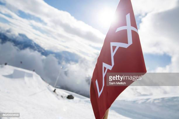 The Laax Open slopestyle course flag on 15th January 2017 in Laax Switzerland The Laax Open is a FIS Snowboarding World Championship event in Laax...