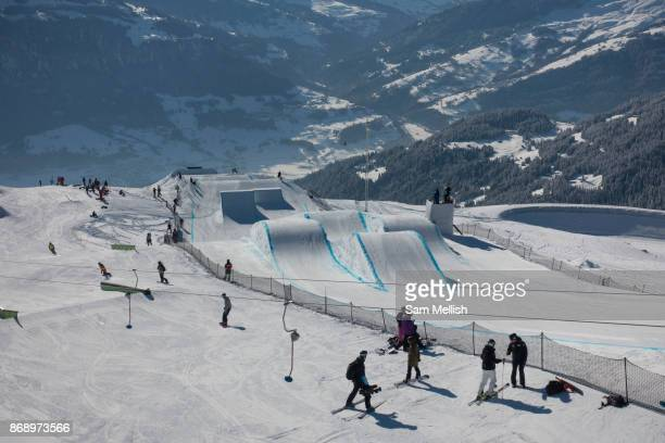 The Laax Open slopestyle course on 19th January 2017 in Laax Switzerland The Laax Open is a FIS Snowboarding World Championship event in Laax ski...