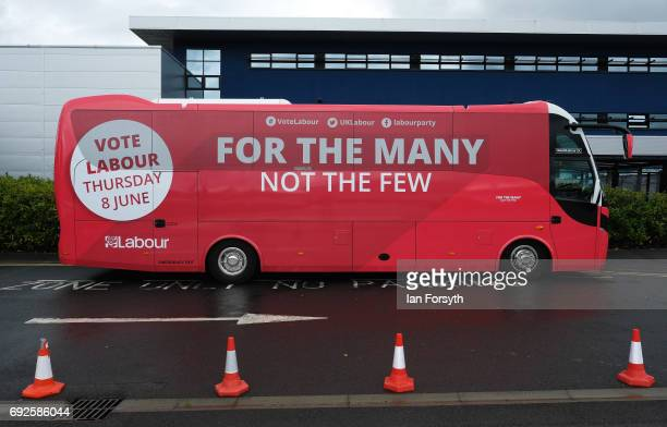The Labour campaign bus is parked outside Derwentside College during a visit by party leader Jeremy Corbyn on June 5 2017 in Consett United Kingdom...