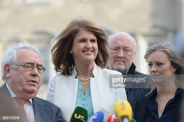 The Labour Party's Mairia Cahill pictured with Tanaiste and Labour leader Joan Burton and Labour Election Director Joe Costello during a press...