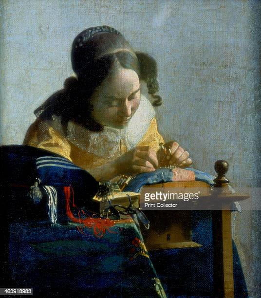 'The Lace Maker' c1664 The woman is making pillow lace which uses a strip of parchment on which the pattern has been pricked out This is pinned to...