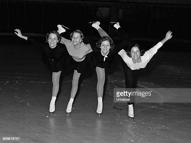 The ladies American team for the World Championships in Paris Carol Heiss her sister Nancy Carol Vanek and Clara Lyne Lewis