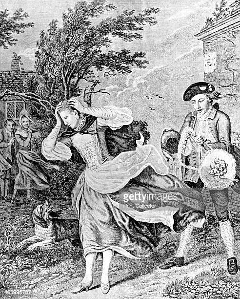 'The Ladies Disaster' 1771 A woman loses her wig in a high wind Illustration from Social Caricature in the Eighteenth Century With over two hundred...
