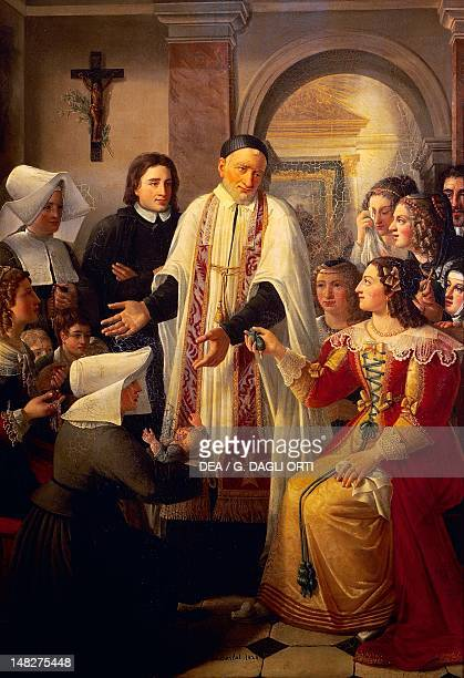 The ladies of the court offering jewels to the Saint and the Sisters of Charity by Jenny Boucharlat oil on canvas 233x143 cm Church of SaintGermain...