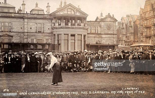 The Ladies Open Golf Championship held at St Andrews Golf Club in Scotland with Miss D Campbell driving from the first tee, circa 1908.