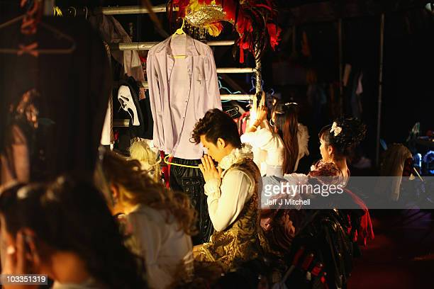 The Lady Boys of Bangkok prepare backstage for their cabaret show on August 11 2010 in Edinburgh Scotland The festival favourites return once more to...