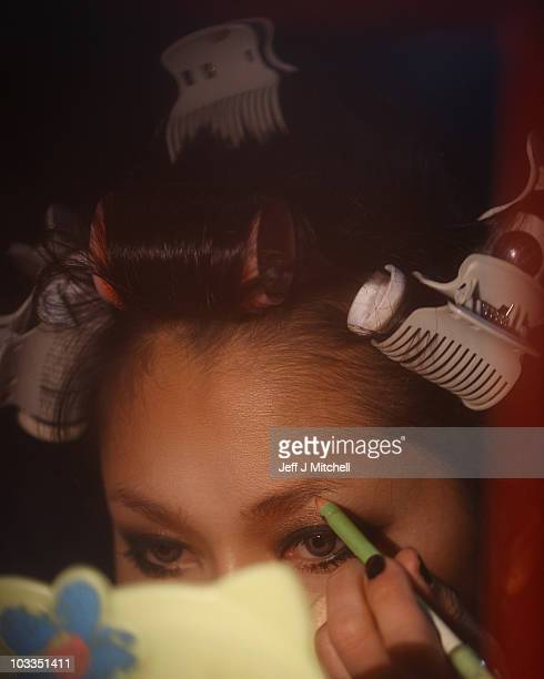 The Lady boys of Bangkok put make up on before their cabaret show on August 11 2010 in Edinburgh Scotland The festival favourites return once more to...