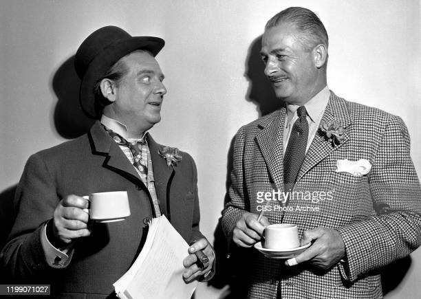 The Lady Esther Screen Guild Players a CBS Radio dramatic anthology program Episode The Informer Pictured Left to right actors Wallace Ford and...